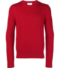ami ribbed crew neck sweater - red