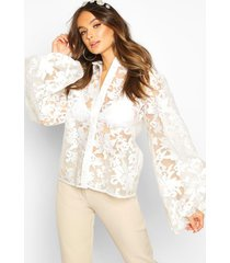 floral organza oversized sleeve shirt, ivory