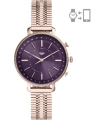 fossil women's cameron rose gold-tone stainless steel mesh bracelet hybrid smart watch 36mm