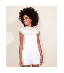 macaquinho de sarja feminino com bolsos branco