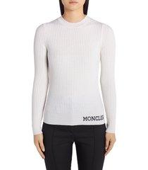 women's moncler jacquard logo rib wool sweater, size large - white