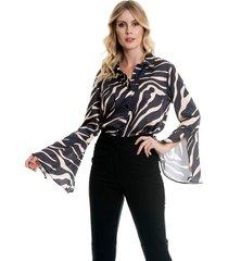 camisa bisô flare estampada preta - kanui