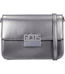 gcds shoulder bag in silver leather