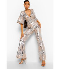premium jumpsuit met pailletten en kimono mouwen, champagne
