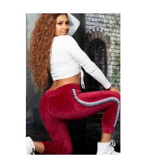trendy thermo sweatpants met contrasterende strepen bordeaux