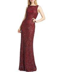 mac duggal women's sequin column gown - burgundy - size 10