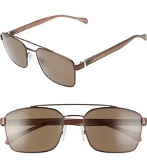 boss 57mm polarized aviator sunglasses in silver/matte brown at nordstrom