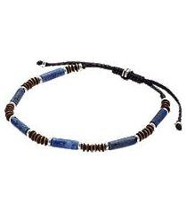 jos. a. bank brass, silver & stone bead bracelet