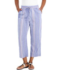 charter club striped pull-on pants, created for macy's