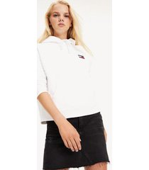 tommy hilfiger women's organic cotton badge hoodie classic white - s