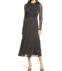 women's lilly pulitzer maeva glitter onyx long sleeve midi dress, size xx-small - black