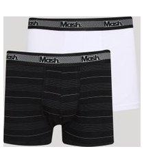 kit de 2 cuecas masculinas mash boxer estampado listrado multicor