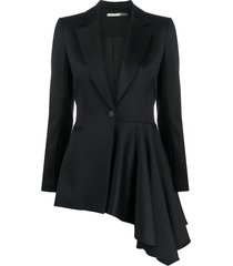 alice+olivia hudson asymmetric draped blazer - black
