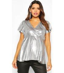 maternity shimmer wrap peplum top, silver