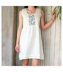 cotton blend dress, 'smoky flowers' (india)