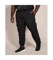 calça de nylon masculina plus size jogger cargo com cinto preta