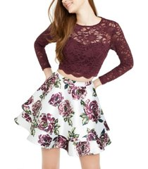 city studios juniors' lace top & floral skirt