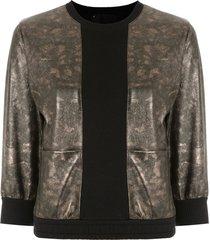 andrea bogosian leather panelled sweatshirt - metallic