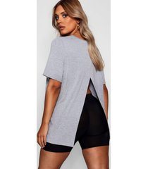 plus jersey split open back t-shirt, light grey