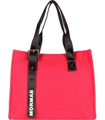 bolsa satchel em lona mormaii - 230000 rosa - rosa - feminino - dafiti