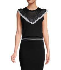 alice + olivia by stacey bendet women's ruffled sleeveless top - black white - size m