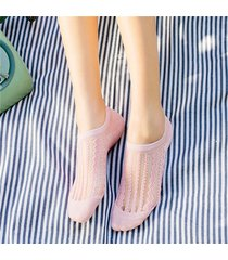 donna estate trasparente traspirante barca calze tinta unita a righe caviglia calze