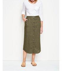 orvis performance linen button-front skirt