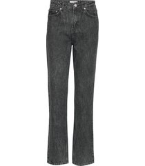 washed denim high-waisted jeans rechte jeans zwart ganni