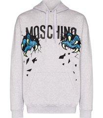 moschino logo-print cotton-jersey hoodie - grey