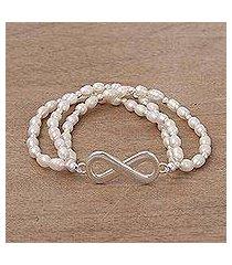 cultured pearl stretch bracelet, 'beaded infinity' (peru)