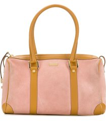 gucci pre-owned two-tone duffle bag - pink