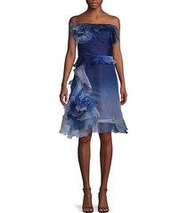 ombré ruffled silk-blend cocktail dress