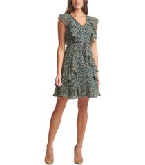 tommy hilfiger ruffle-trim fit & flare dress