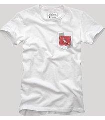 camiseta bolso xadrez retalho reserva branco
