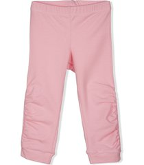 lapin house ruched stretch-cotton leggings - pink