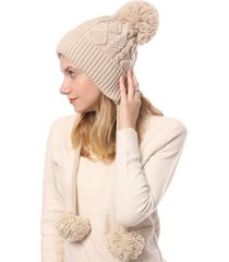 fuzzy ball cable knit solid sweater cap