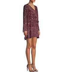 kimberly ruffled print shift dress