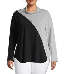karen kane women's plus contrast turtleneck knit top - blue - size 1x (14-16)