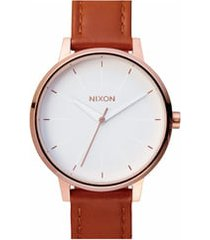 nixon 'the kensington' leather strap watch, 37mm in brown/rose gold/white at nordstrom
