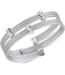 charriol white topaz twist cable wrap bracelet (3/8 ct. t.w.) in stainless steel