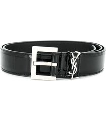 patent leather monogram belt