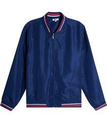 chaqueta bomber tiras tejidas color azul, talla xs