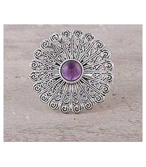 amethyst cocktail ring, 'beautiful bloom' (india)