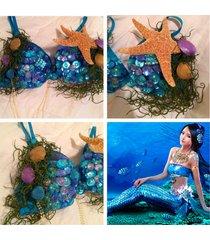 mermaid shell starfish seaweed rhinestone rave bra, edc , rave outfit