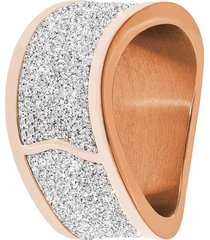 anello in acciaio rosé, lurex silver e cristalli per donna