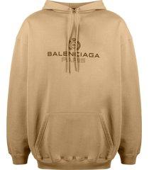 balenciaga logo-print hoodie - neutrals