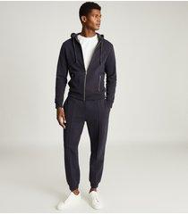 reiss harold - jersey zip through hoodie in navy, mens, size xxl