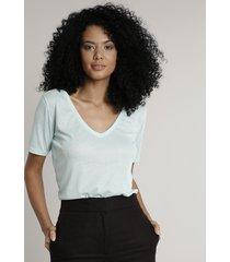 blusa feminina ampla manga curta decote v verde claro
