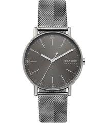 skagen men's signatur gunmetal stainless steel mesh bracelet watch 40mm