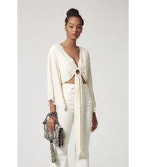 blusa de crepe argola amarracao branco pérola